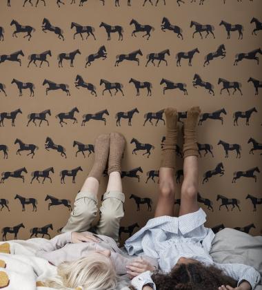 Tapeta z wzorem koników 53x1000 cm HORSE Brązowa