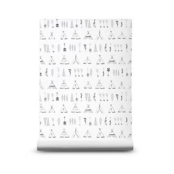 Tapeta z wzorem NATIVE 53x1000 cm Czarno-Biała