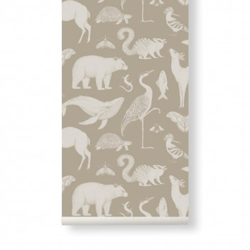 Tapeta z wzorem zwierząt 53x1000 cm KATIE SCOTT ANIMALS Piaskowa