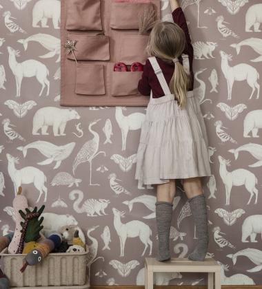 Tapeta z wzorem zwierząt 53x1000 cm KATIE SCOTT ANIMALS Różowa