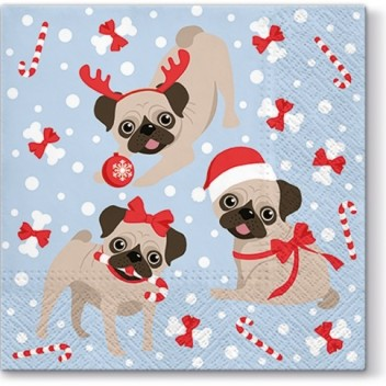 Serwetki papierowe świąteczne 33x33 TAT Świąteczne Mopsy