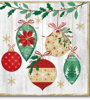 Serwetki papierowe świąteczne 33x33 TAT Vintage Baubles