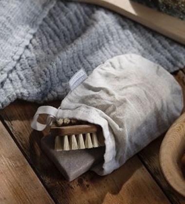 Ręcznik z gniecionego lnu NYYTTI 38x38 Szary