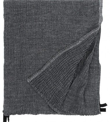 Ręcznik z gniecionego lnu NYYTTI 65x130 Grafitowy