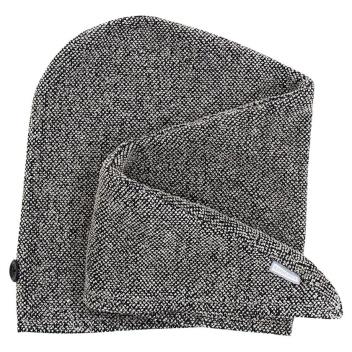 Turban na głowę lniany KIVI 65x30 Czarno-Lniany