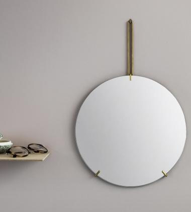 Lustro Ścienne WALL MIRROR 50 cm Mosiądz EXPO