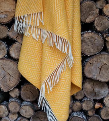 Koc Iida Wool 130x210 Żółto-Biały