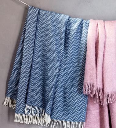Koc Iida Wool 130x210 Niebiesko-Biały