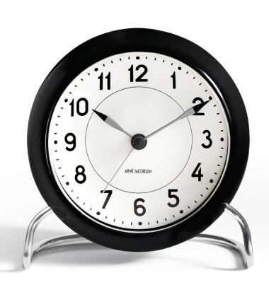 Zegarek Budzik AJ Station Table Clock Czarno-Biały Arabskie