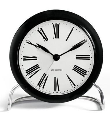 Zegarek Budzik AJ Roman Table Clock Czarno-Biały Rzymskie