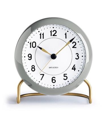 Zegarek Budzik AJ Station Table Clock Szaro-Złoty