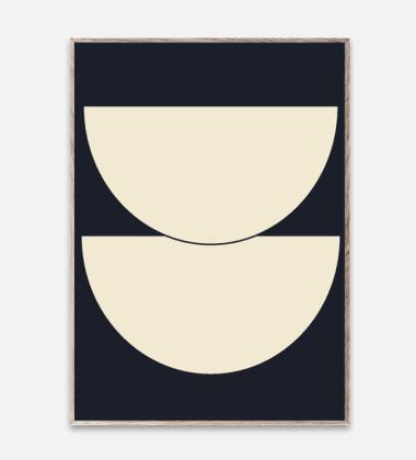 Poster 50x70 HALF CIRCLES 1 BLUE by Nina Bruun