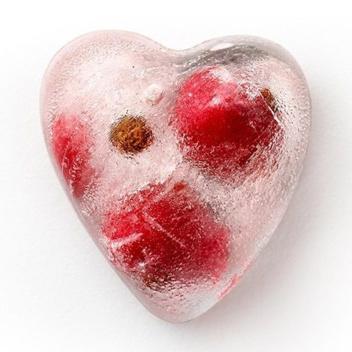 Silikonowy pojemnik do kostek lodu Hearts Ice Cube Tray Czerwony