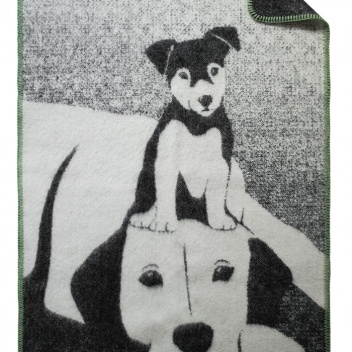 Kocyk dziecięcy z psami BUDDIES 70x90 cm Czarno-Szary