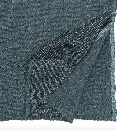 Ręcznik z gniecionego lnu NYYTTI 95x180 Czarno-Morski