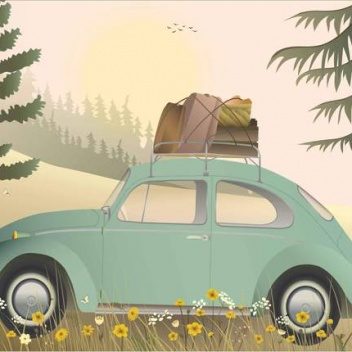 Poster 30x40 VW BEETLE GREEN By ViSSEVASSE