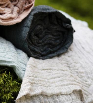 Ręcznik z gniecionego lnu NYYTTI 38x38 Biały