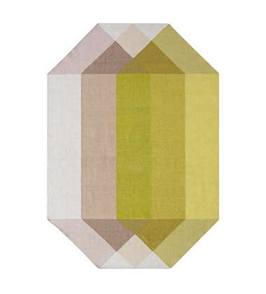 Kilim z recyclingu 170x220 DIAMOND Pink-Yellow by Charlotte Lancelot