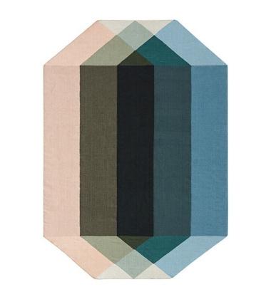 Kilim z recyclingu 170x220 DIAMOND Nude-Petrol by Charlotte Lancelot