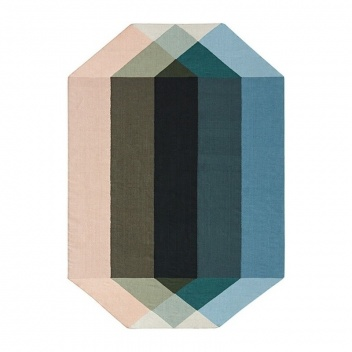 Kilim z recyclingu 300x390 DIAMOND Nude-Petrol by Charlotte Lancelot