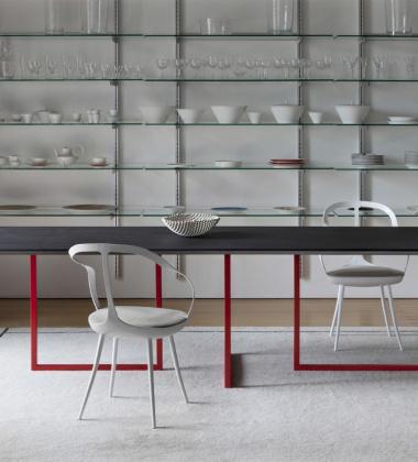 Stół Gazelle 90x210 Cement Grafitowo-Czerwony EXPO