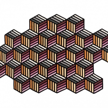 Kilim wełniany 188x305 PARQUET HEXAGON Orange by Front