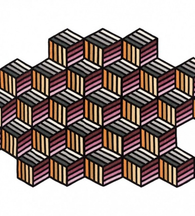 Kilim wełniany 188x305 PARQUET HEXAGON Orange by Front