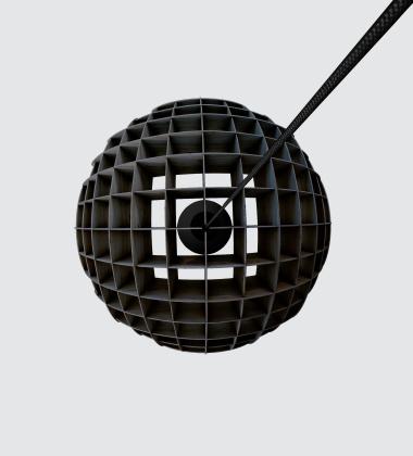 Lampa wisząca 40 cm ARC Pendant Black Plywood
