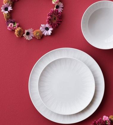 Talerz z porcelany Lotus 28 cm Biały Mat