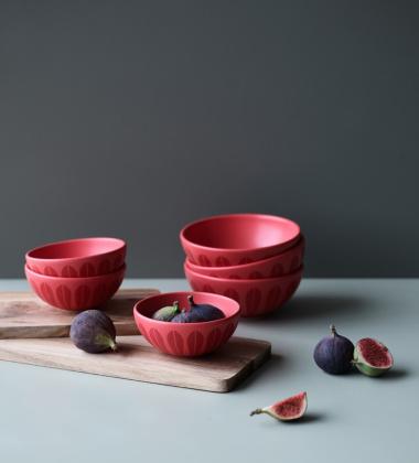 Miska z porcelany Lotus 18 cm Czerwony Mat