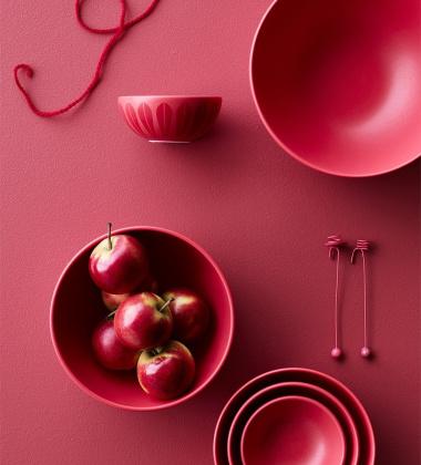 Miska z porcelany Lotus 24 cm Czerwony Mat