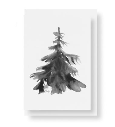 Kartka świąteczna z kopertą A6 choinka Teemu Jarvi HIDING HARE