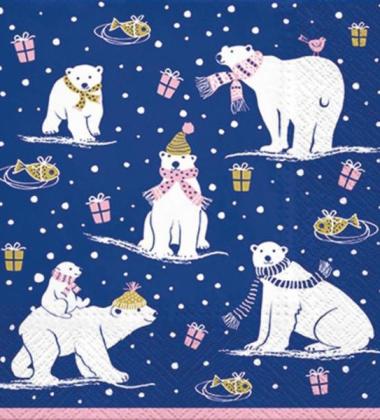 Serwetki papierowe 33x33 TAT Serwetki papierowe świąteczne 33x33 TAT Arctic Pack MIŚ POLARNY