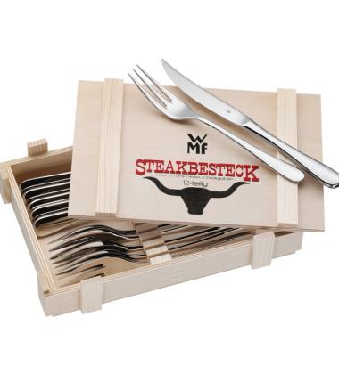 Komplet sztućców do steków w drewnianej skrzynce Cromargan Set 6 by WMF