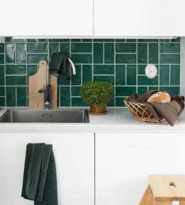 Ścierka kuchenna Maija Dish 25x32 Czarno-Zielona