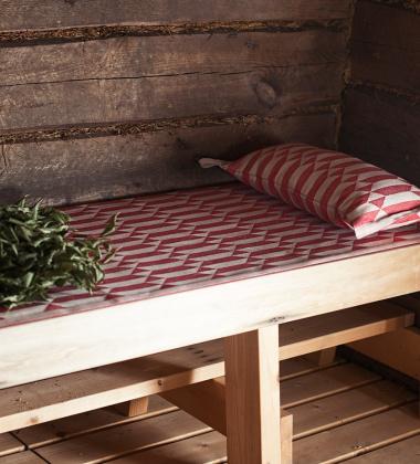 Bieżnik do sauny HILA 46x150 Czerwono-Lniany