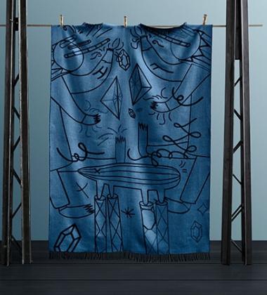 Koc wełniany dwustronny 130x205 FH JAIME HAYON THROW Blue-Black