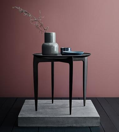 Stolik drewniany z tacą 45xH42 FH TRAY TABLE Black Lacquered Oak