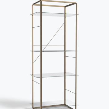 Regał FLORENCE Shelf Large Raw Gold Frame w. Clear Glass Shelves