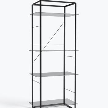 Regał FLORENCE Shelf Large Iron Black Frame w. Smoked Glass Shelves