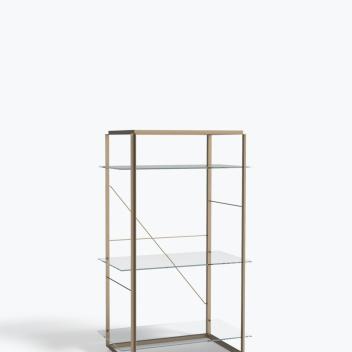 Regał FLORENCE Shelf Medium Raw Gold Frame w. Clear Glass Shelves