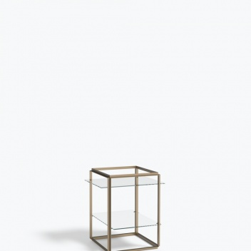 Stolik FLORENCE Side Table Small Raw Gold Frame w. Clear Glass Shelves