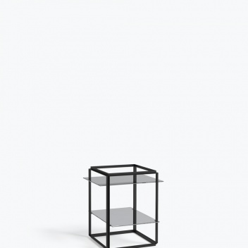 Stolik FLORENCE Side Table Small Iron Black Frame w. Smoked Glass Shelves
