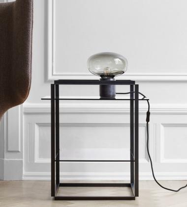 Stolik FLORENCE Side Table Small Iron Black Frame w. Smoked Glass Shelves