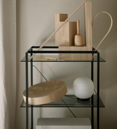 Regał FLORENCE Shelf Medium Iron Black Frame w. Smoked Glass Shelves