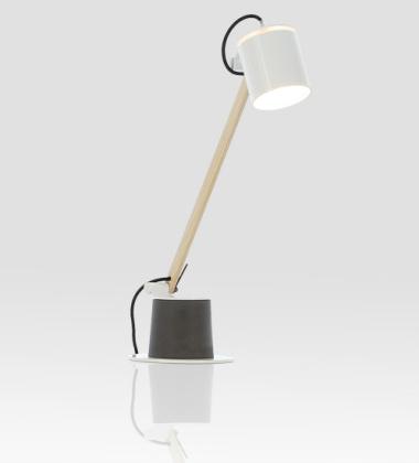 Lampa biurkowa Plume Wood Biała