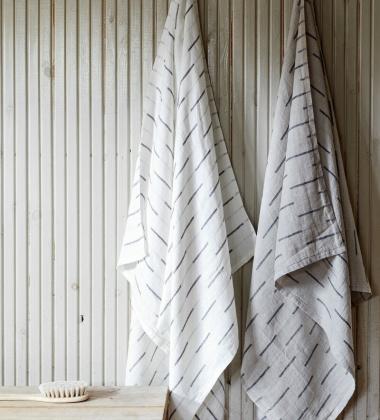 Ręcznik kąpielowy lniany PAUSSI 95x180 cm White-Grey