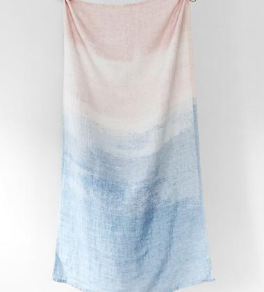Ręcznik kąpielowy lniany SAARI 95x180 cm Rose-Blue