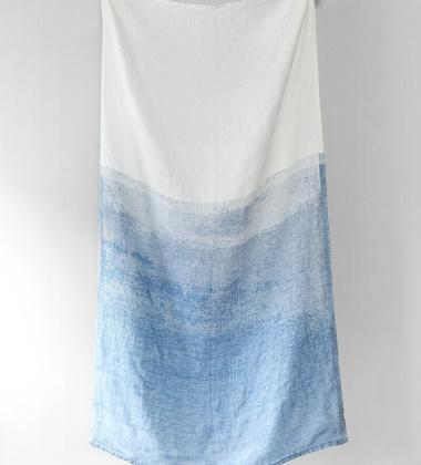 Ręcznik kąpielowy lniany SAARI 95x180 cm White-Blue