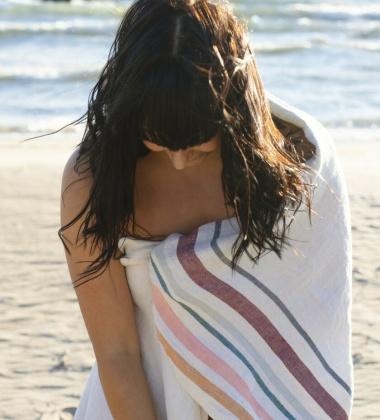 Ręcznik kąpielowy lniany LEWA 95x180 cm Grey-Bordeaux